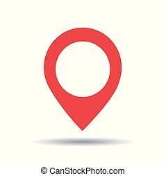 kartläggande, stift, ikon