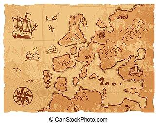 kartlagt fond, forntida, gammal, årgång, geografi, ...