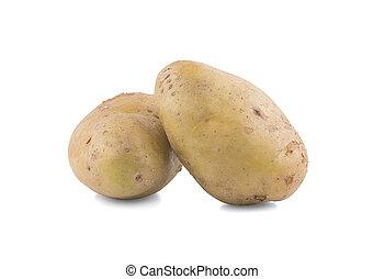 kartofel, odizolowany, roślina, białe tło
