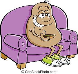 kartofel, rysunek, couch., posiedzenie