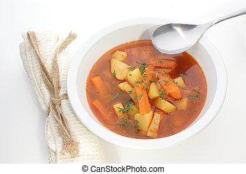 kartoffel, suppe, ind, en, hvid, skål