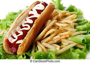 kartofle, pies, gorący, smakowity, świeży, smażył
