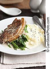 kartofle, wieprzowina, utłuczony na papkę