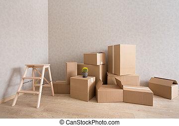 karton æske, stabel, ind, nye, tom rum, hos, step-ladder