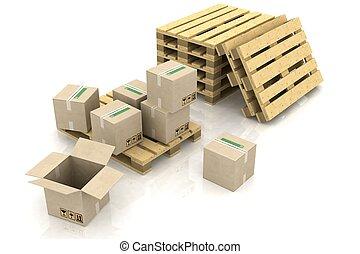 karton bokst, op, houten, pallets