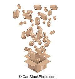 karton bokst, set., moderne, vector, aflevering