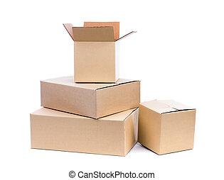 karton bokst, vrijstaand, op wit, achtergrond
