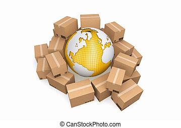 karton, boxes., last, fødsel, og, transport, logistik, storage.
