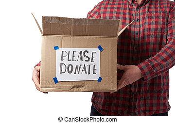 karton, hemd, alstublieft, jeans, doosje, inscriptie, man, houden, doneren, bruine , ruitjes