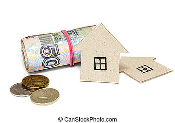 karton, huisen, geld, achtergrond., russische , witte , eigendom, aankoop