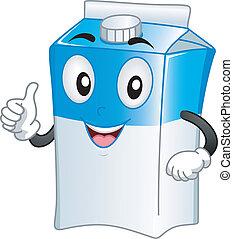 karton, melk, mascotte