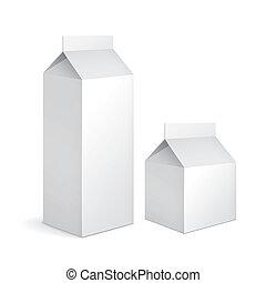 karton, melk, pakketten, leeg