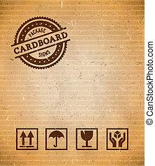 karton, met, verpakken, tekens & borden