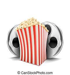 karton, schüssel, voll, von, popcorn