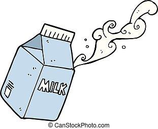 karton, spotprent, melk