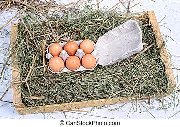 karton, van, zes, eitjes, in, de, stro