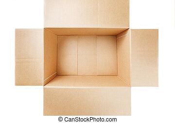 karton, witte , vrijstaand, overzicht., bovenzijde, achtergrond., open