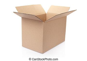 kartong kasse, öppna, vita