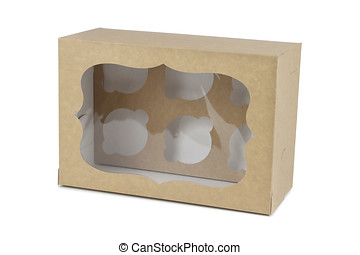 kartong kasse, för, tekakor, insida, utsikt.