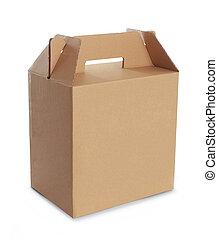 kartong kasse, med, handtag