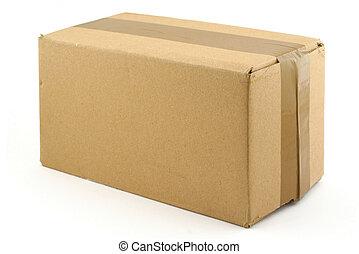 kartong kasse, på, whi