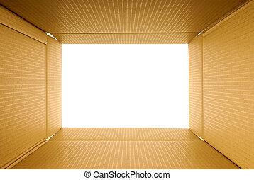 kartong kasse, ram, synhåll, från, insida, avskrift tomrum