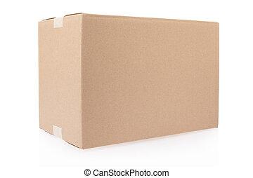 kartong kasse, stängd, med, tejpa