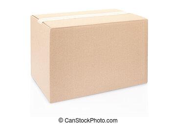 kartong kasse, stängd, vita