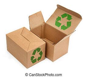 kartong kassera, med, återvinn symbol