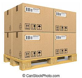 kartong kassera, på, palett