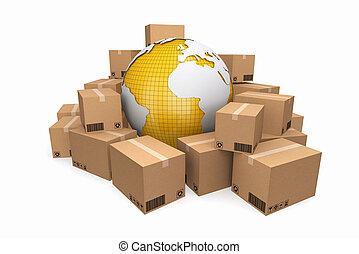 kartonpapír, boxes., rakomány, felszabadítás, és, szállítás, logisztika, storage.