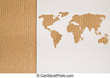 kartonpapír, háttér, sorozat, -, globális, hajózás, fogalom