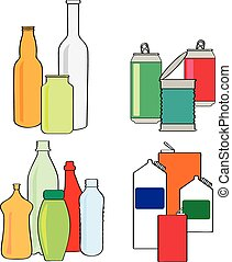 kartons, dosen, flaschen, mülltrennung