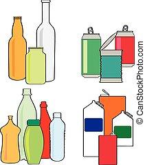kartons, mülltrennung, flaschen, dosen