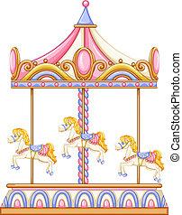 karusell, rida, roterande