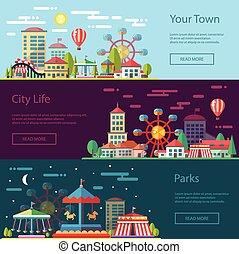 karuseller, lejlighed, byen, moderne, illustration, konstruktion, begrebsmæssig