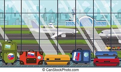 karussell, fahne, animation, reise, verwandt, gepäck, slowake, aufkleber, slowakei, loopable, flughafen., karikatur