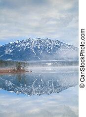 Karwendel Alps reflected in Barmsee