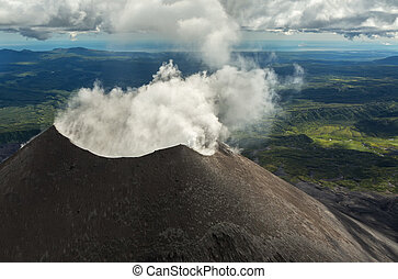 Karymsky is an active stratovolcano. Kronotsky Nature ...