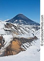 Karymsky volcano on the Kamchatka Peninsula.