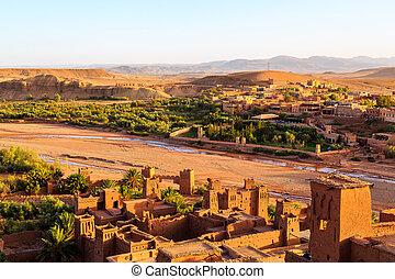kasbah, 山, ベン, モロッコ, haddou, 地図帳, ait