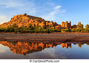 Kasbah Ait Ben Haddou in the Atlas mountains of Morocco at sunset