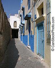 Kasbah, Tangier - A sunny white-washed street in the famous...