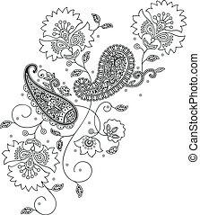 kashmir, henné, conception, mode