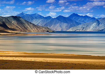 kashmir, (lake), indie, ladakh, jammu, pangong, tso, góry