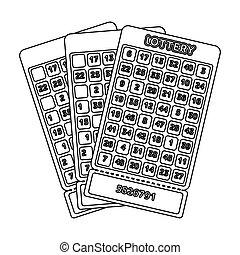kasino, 스타일, 주식, 상징, jackpot., 추첨, tickets., 아우트라인, casino...