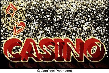 kasino, banner, mit, feuerhaken, elemente, vektor, abbildung