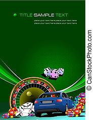 kasino, elemente, mit, auto, image., vektor, abbildung