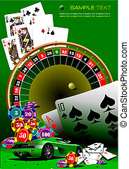 kasino, elements., vektor, illustrati