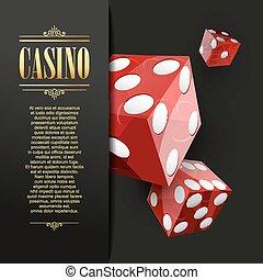 kasino, feuerhaken, vektor, hintergrund., illustration.
